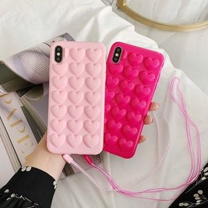 iPhone Light Pink 3D Hearts Case